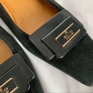 GUCCI Black Suede Leather Low Heels